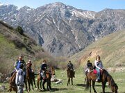 Uzbekistan horse riding  and tulips watching through Paltau valley in Ugam-Chatkal national park