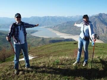 Uzbekistan hiking and trekking in Ugam-Chatkal national park to peak of mountain Patandazboshi