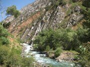 Uzbekistan trekking in Ugam-Chatkal national park upstream Koksu river to a mountain lake Kichkinakul