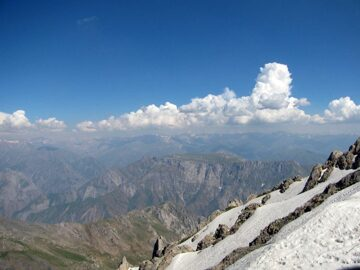 Uzbekistan hiking trekking in Ugam-Chatkal national park to the peak of mountain Big Chimgan
