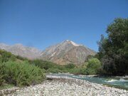 Uzbekistan trekking and camping in Ugam-Chatkal national park upstream Koksu river to a mountain lake Kichkinakul.