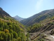 Uzbekistan hiking trekking in Ugam-Chatkal national park to Aksarsay waterfall in October