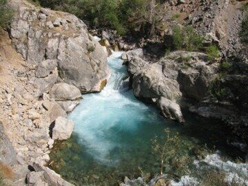 Uzbekistan trekking in Ugam-Chatkal national park upstream Koksu river to mountain lake