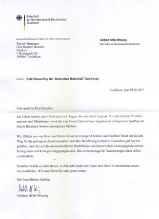 feedback by Embassy of Germany in Tashkent